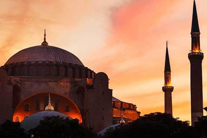 Hagia Sophia Exterior Sunset Istanbul