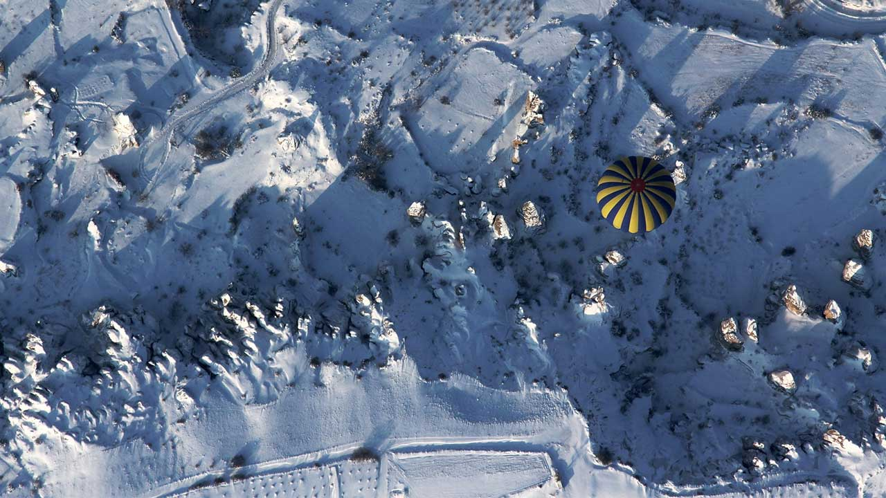 Winter View of Cappadocia from a Balloon