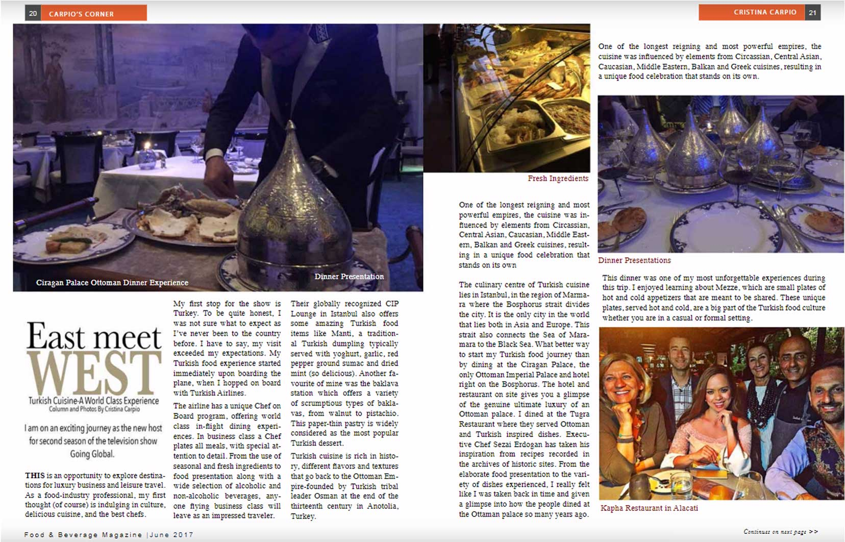 Food & Beverage Magazine June 2017 East Meet West, Cristina Carpio by Going Global TV Cover Istanbul